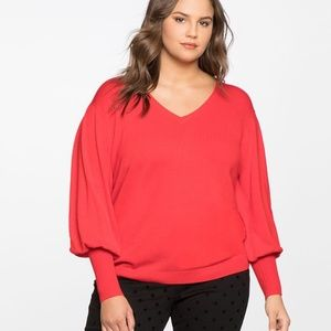 Eloquii Red Puff Sleeve Sweater NWT Size 22/24